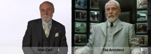 "Vint Cerf Founding Father of the Internet Compared with 'The Architect' from ""The Matrix 2: Reloaded"""